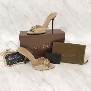 ❌SOLD❌ Gucci Tan Suede Horsebit Open Toe Sandals